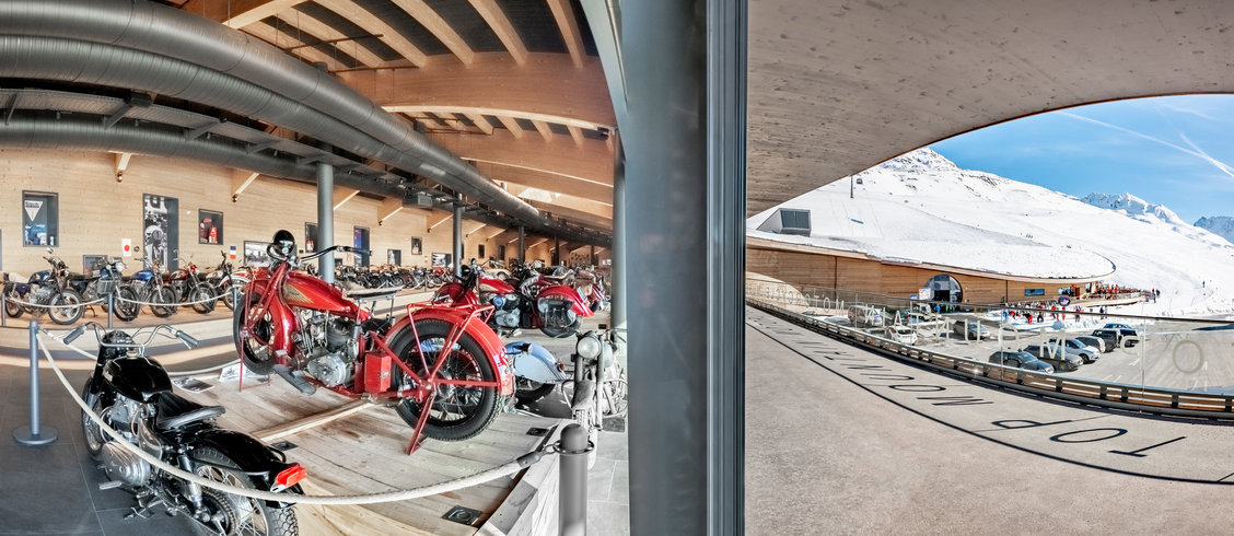 The topmountain crosspoint features a motorcycle museum!